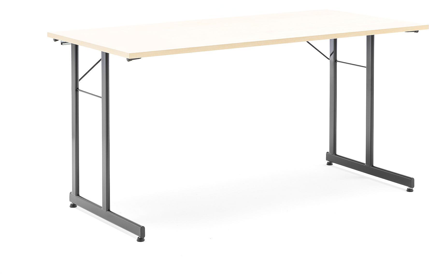 Rokovací stôl Claire, 1400x700 mm, brezový laminát/čierna