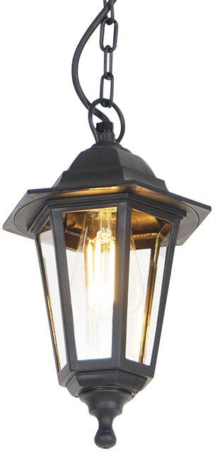 Romantické vonkajšie závesné svietidlo čierne IP44 - New Haven