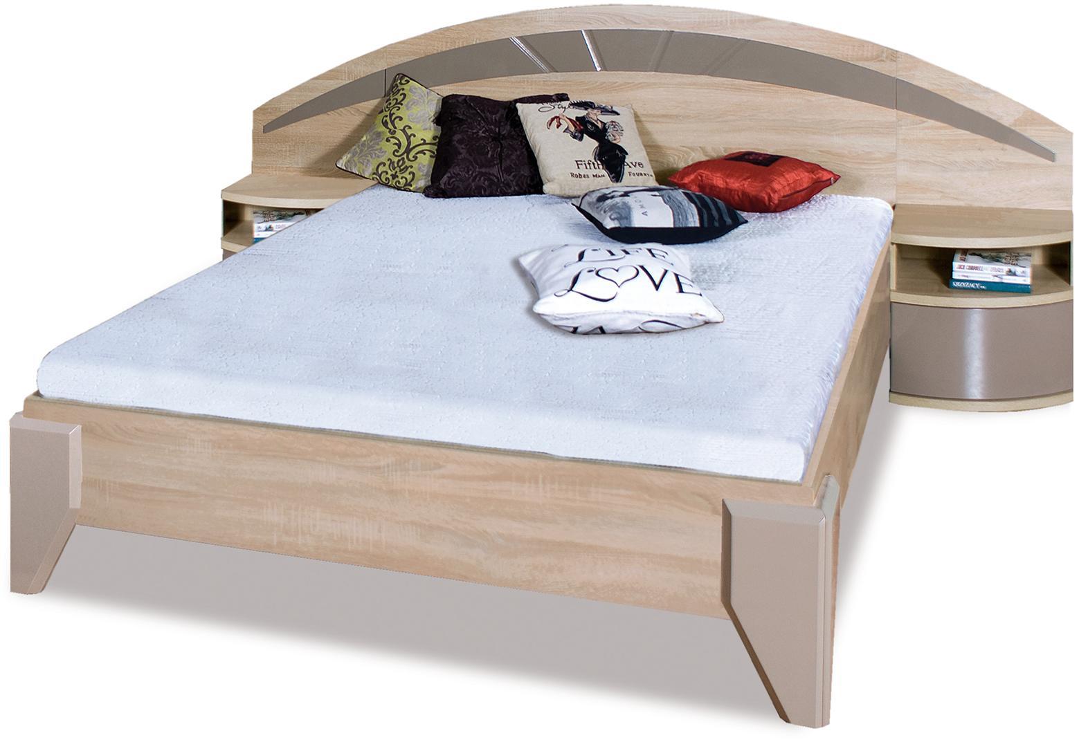 ROME manželská posteľ DL2-1 sonoma + cappuccino lesk