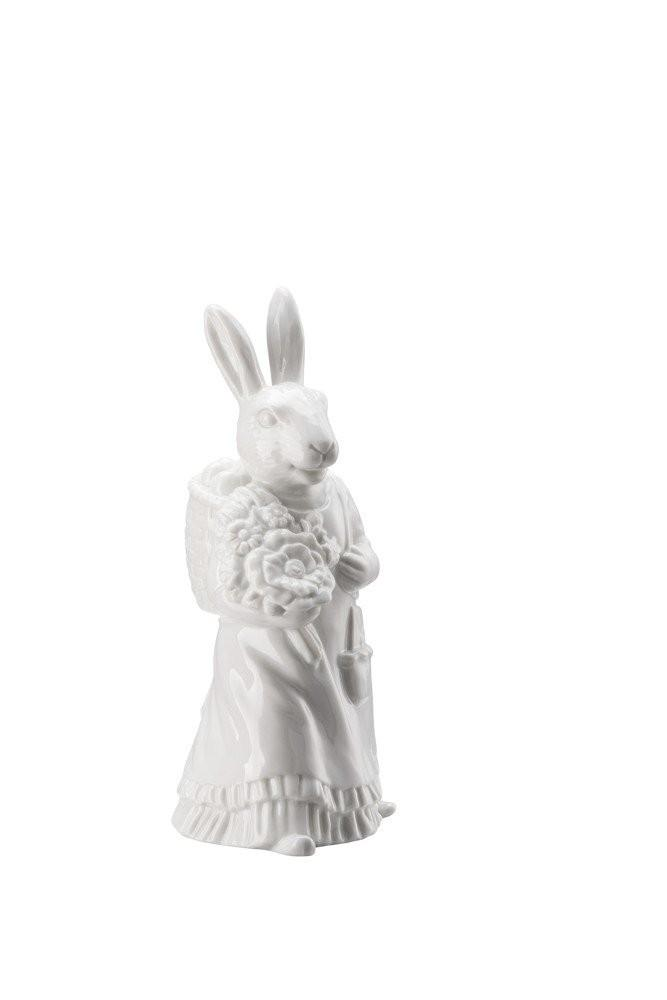 Rosenthal veľkonočná figúrka pani Zajacová s nošou, Easter Bunny Friends, 13,5 cm, biela