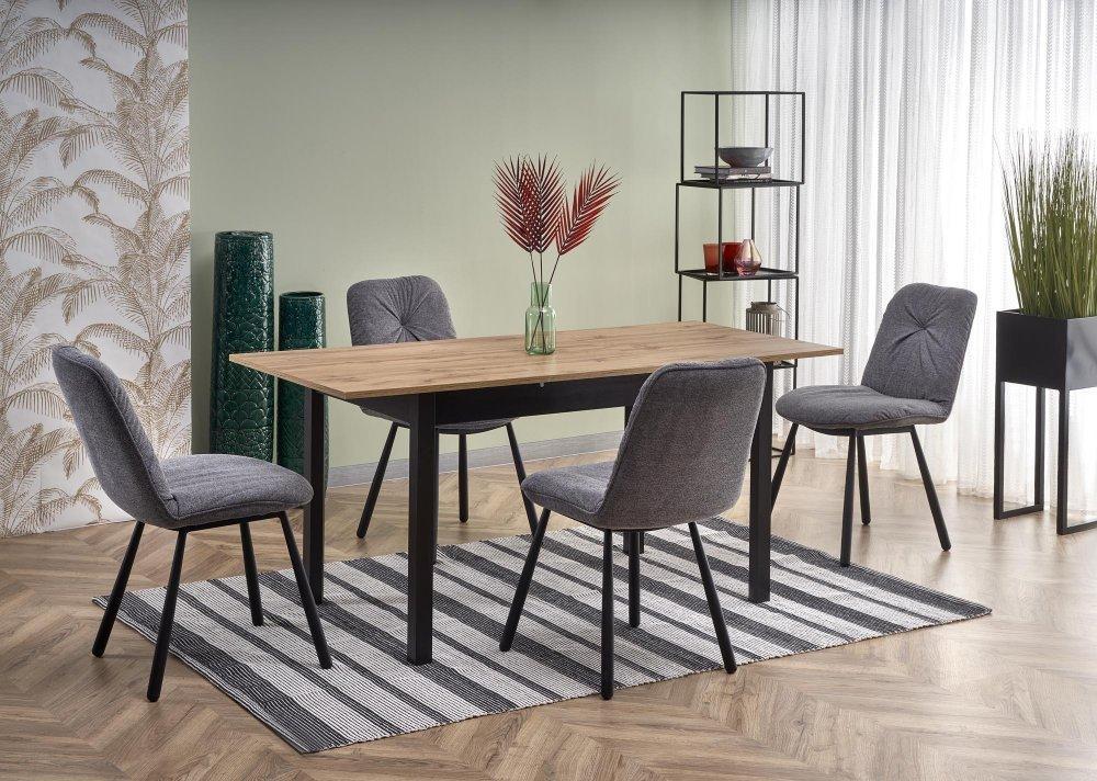 Rozkladací jedálenský stôl GREG dub wotan / čierna Halmar