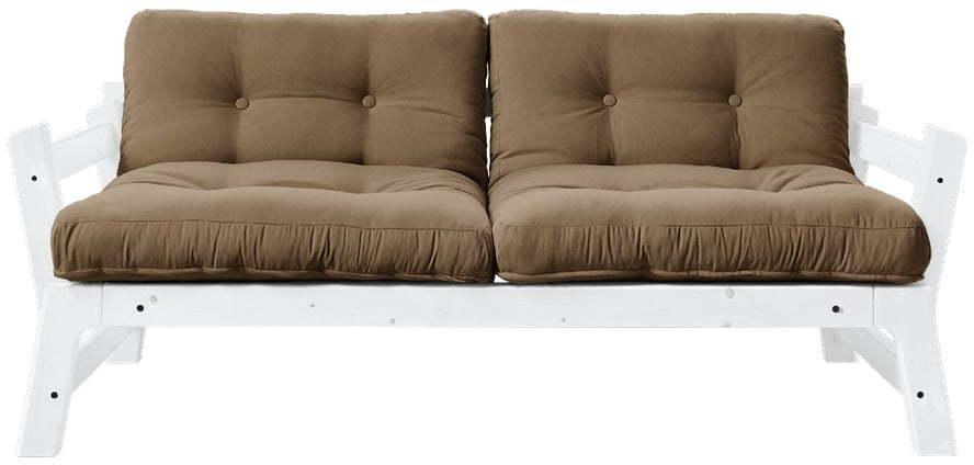Rozkladacia pohovka s hnedým poťahom Karup Design Step White/Mocca