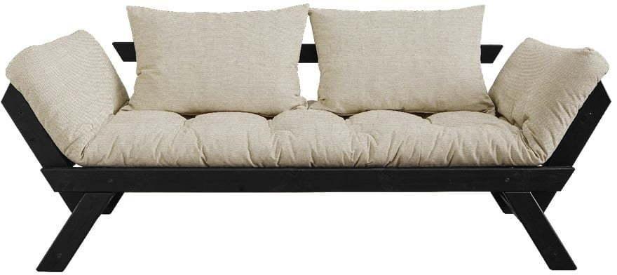 Rozkladacia pohovka s ľanovým poťahom Karup Design Bebop Black/Linen