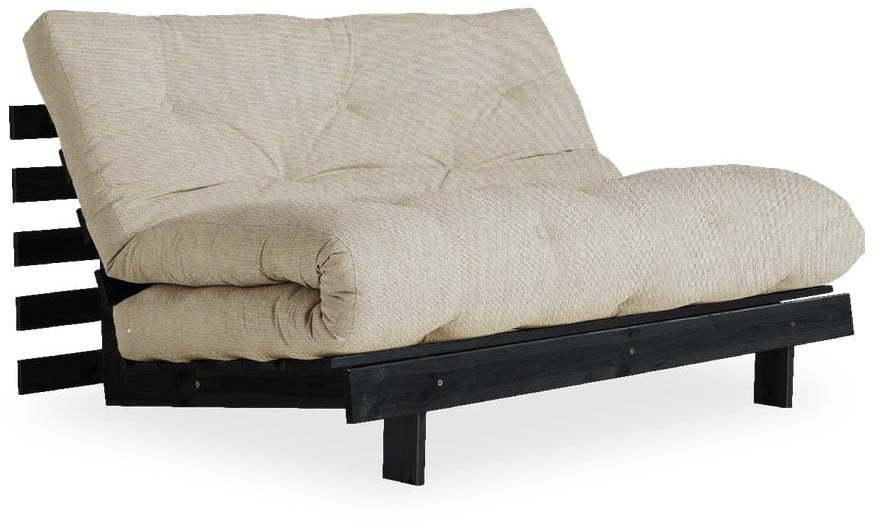 Rozkladacia pohovka s ľanovým poťahom Karup Design Roots Black/Linen