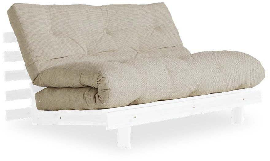 Rozkladacia pohovka s ľanovým poťahom Karup Design Roots White/Linen
