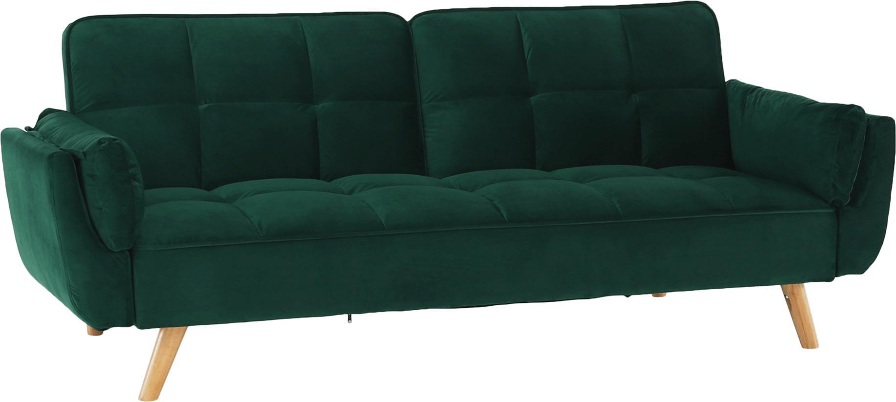 Rozkladacia pohovka, smaragdový zamat/buk, KAPRERA NEW