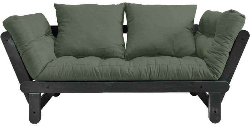 Rozkladacia pohovka so zeleným poťahom Karup Design Beat Black/Olive Green
