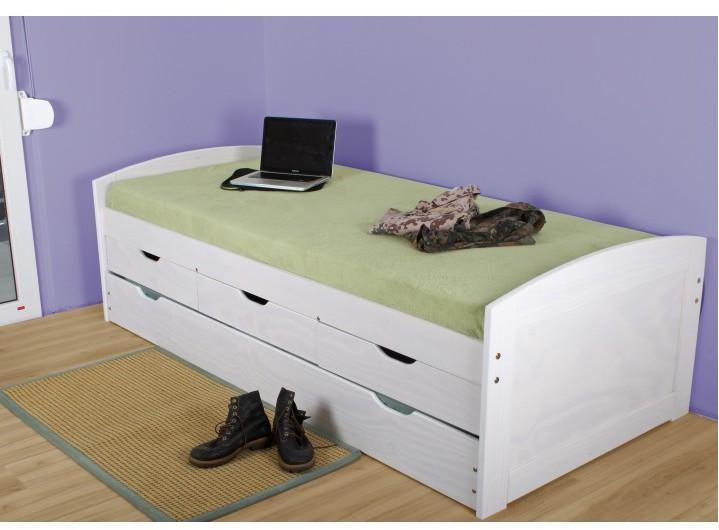 Rozkladacia posteľ 90 cm Marinella (s roštom) (biela)