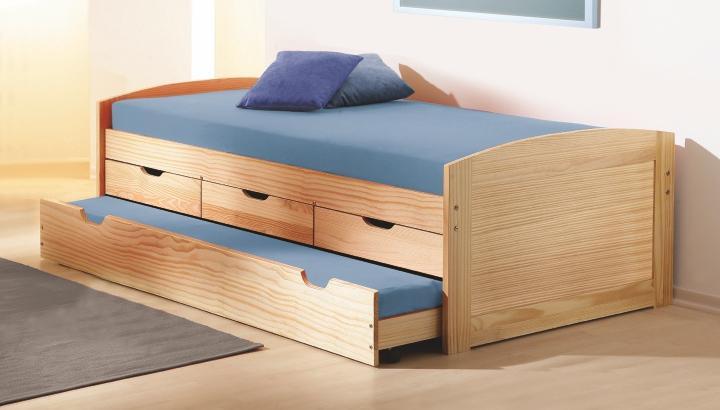 Rozkladacia posteľ 90 cm Mercatu (s roštom) (masív)