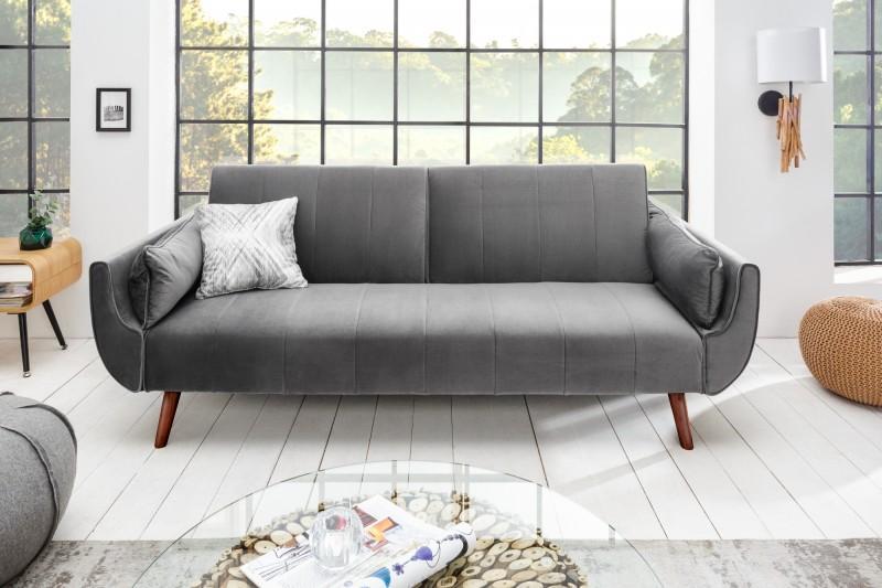 Rozkladacia sedačka Amiyah, 215 cm, strieborný zamat