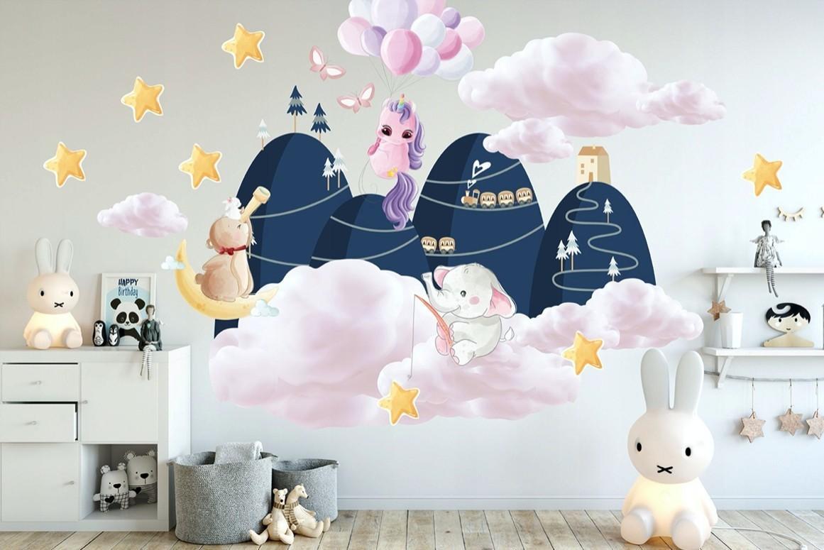 DomTextilu Rozprávková detská nálepka na stenu s milým motívom 100 x 200 cm 46197