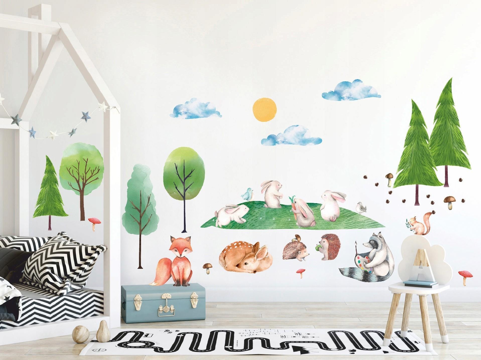 DomTextilu Roztomilá detská nálepka na stenu so zvieratkami v prírode XXL  46727