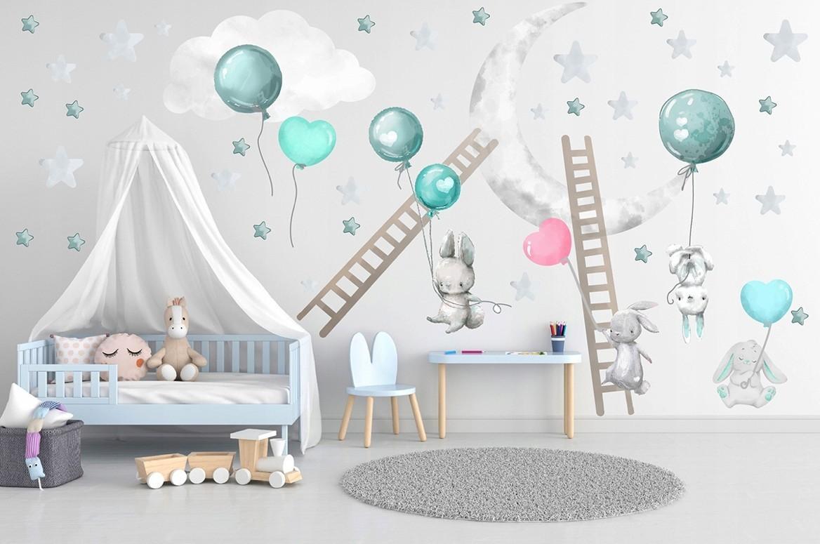 DomTextilu Roztomilá detská nálepka na stenu veselá nočná oblaha 60 x 120 cm 46215-217071