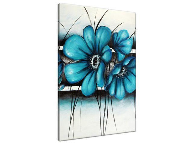 Ručne maľovaný obraz Maľované tyrkysové kvety 70x100cm RM2370A_1AB
