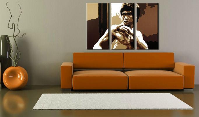Ručne maľovaný POP Art obraz AL Bruce Lee 3 dielny  lee