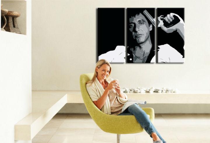 Ručne maľovaný POP Art obraz AL PACINO 3 dielny  al32