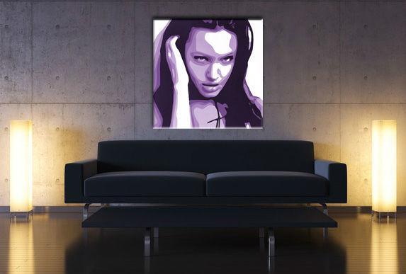 Ručne maľovaný POP Art obraz Angelina Jolie  aj2