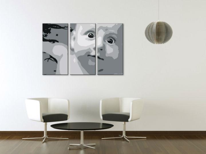 Ručne maľovaný POP Art obraz CHILD 3 dielny  child