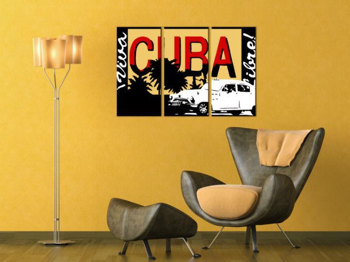 Ručne maľovaný POP Art obraz Cuba 3 dielny  cuba