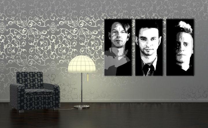 Ručne maľovaný POP Art obraz Depeche Mode 3 dielny  000 dep