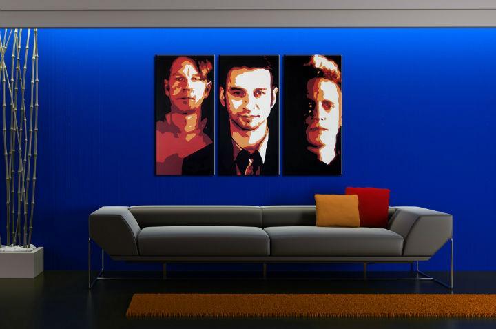 Ručne maľovaný POP Art obraz Depeche Mode 3 dielny  dep2