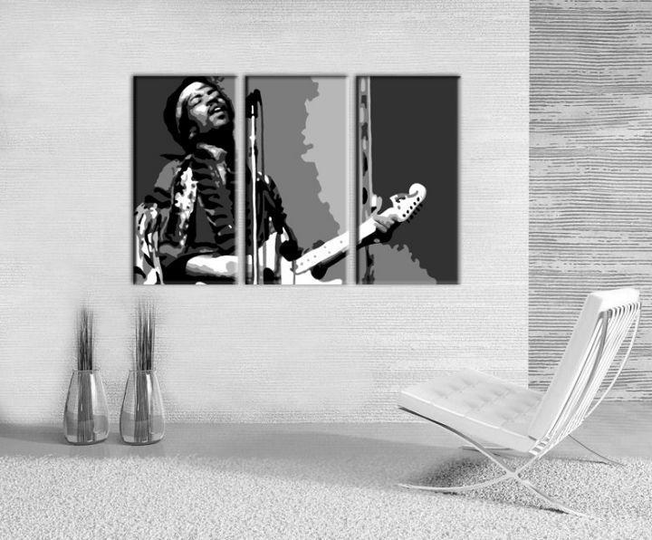 Ručne maľovaný POP Art obraz Jimmy Hendrix 3 dielny  jh
