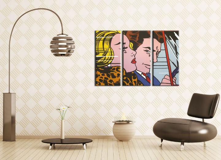 Ručne maľovaný POP Art obraz LICHTENSTEIN 3 dielny  li4