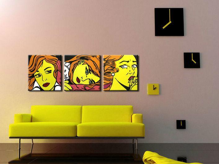 Ručne maľovaný POP Art obraz LICHTENSTEIN 3 dielny  li7