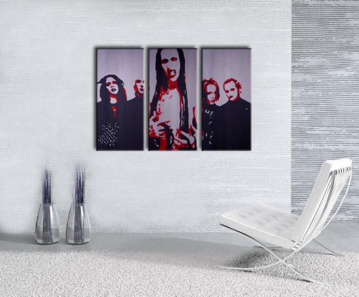 Ručne maľovaný POP Art obraz Marilyn Manson 3 dielny  mm