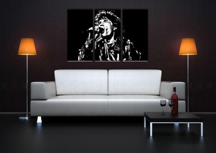 Ručne maľovaný POP Art obraz Mick Jagger 3 dielny  mick