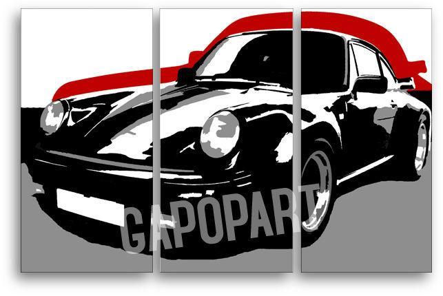 Ručne maľovaný POP Art obraz PORSCHE 911 3 dielny  por5