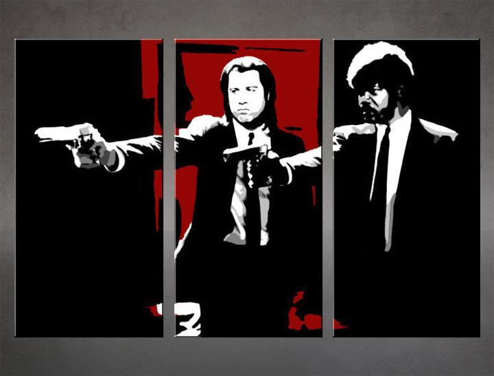 Ručne maľovaný POP Art obraz Pulp Fiction 3 dielny  pulp5