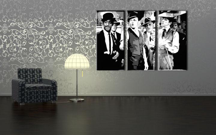 Ručne maľovaný POP Art obraz Rat Pack 3 dielny  rp