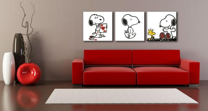 Ručne maľovaný POP Art obraz SNOOPY 3 dielny  snoopy