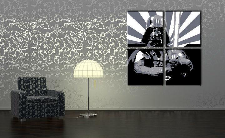 Ručne maľovaný POP Art obraz STAR WARS 4 dielny  sw2
