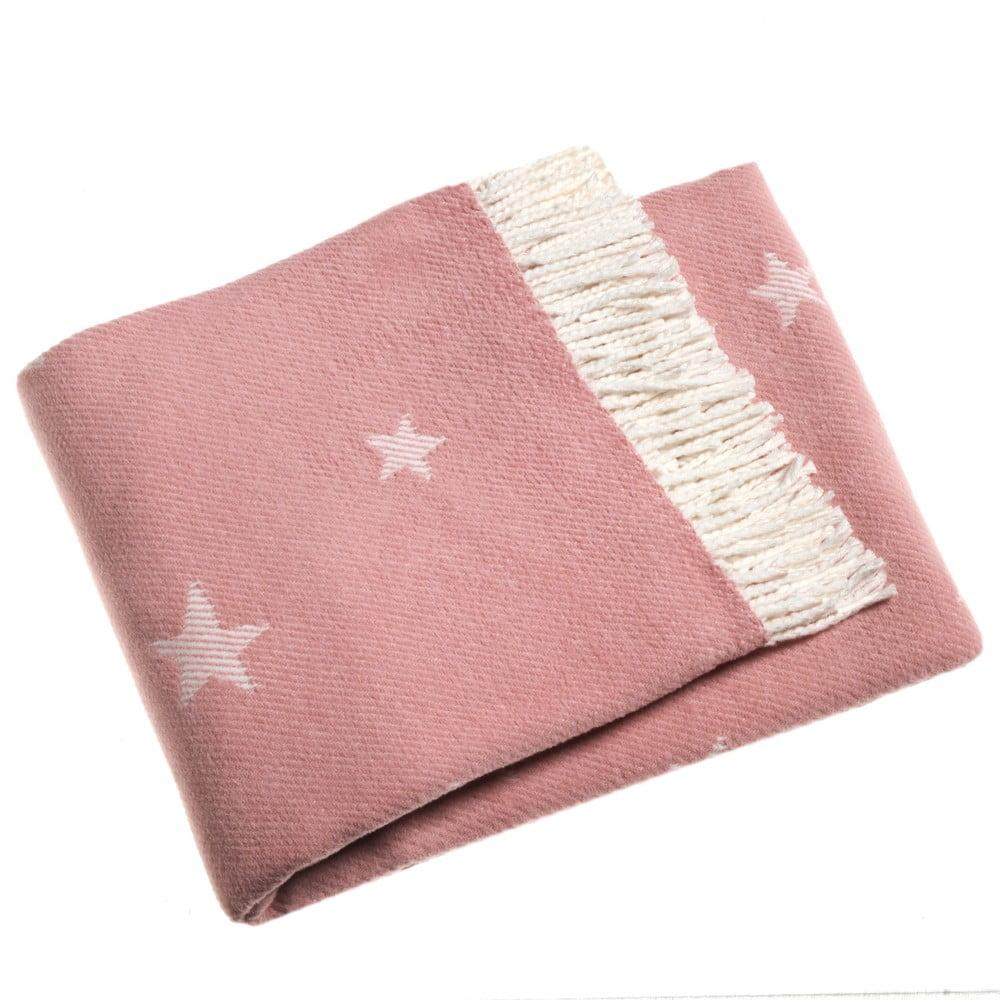 Ružová deka s podielom bavlny Euromant Stars, 140 x 160 cm