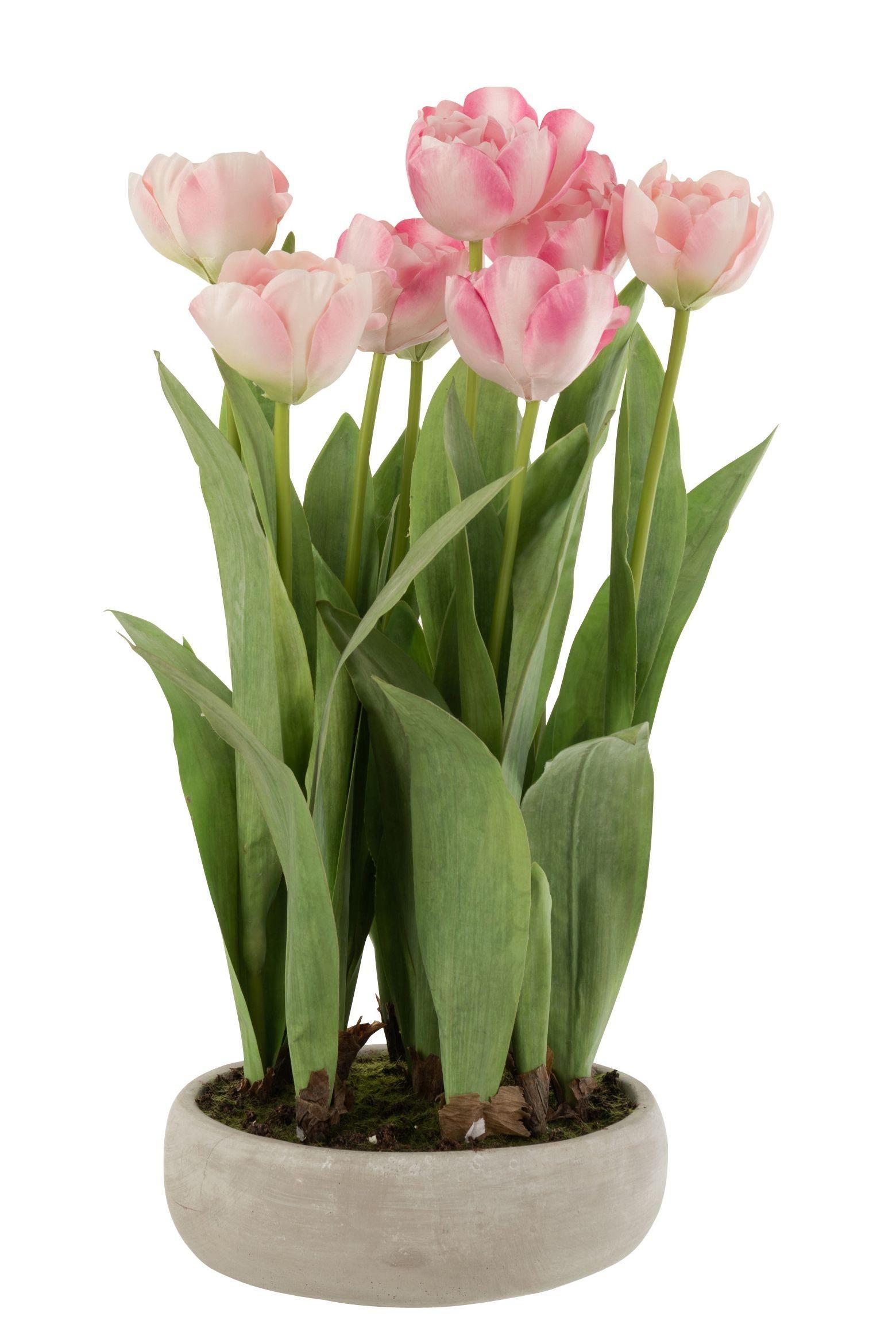 Ružová dekoračné kytička Tulipány v črepníku - 30 * 31 * 48cm