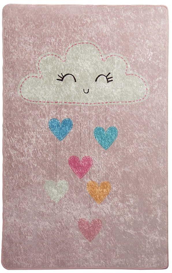 Ružový detský protišmykový koberec Chilam Baby Cloud, 140 x 190 cm