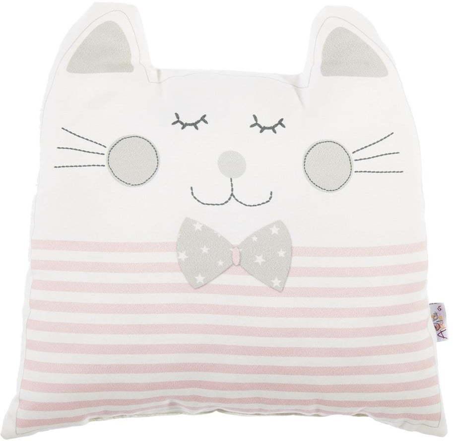 Ružový detský vankúšik s prímesou bavlny Mike & Co. NEW YORK Pillow Toy Big Cat, 29 x 29 cm