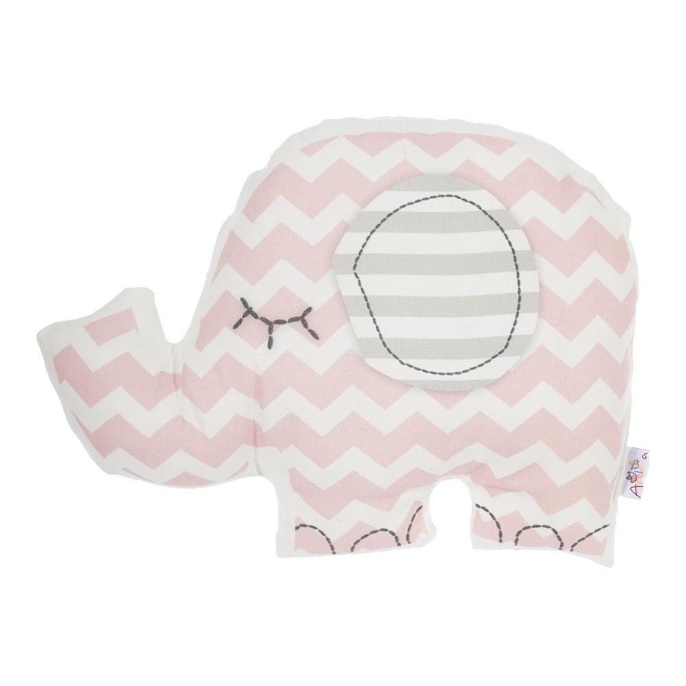 Ružový detský vankúšik s prímesou bavlny Mike & Co. NEW YORK Pillow Toy Elephant, 34 x 24 cm