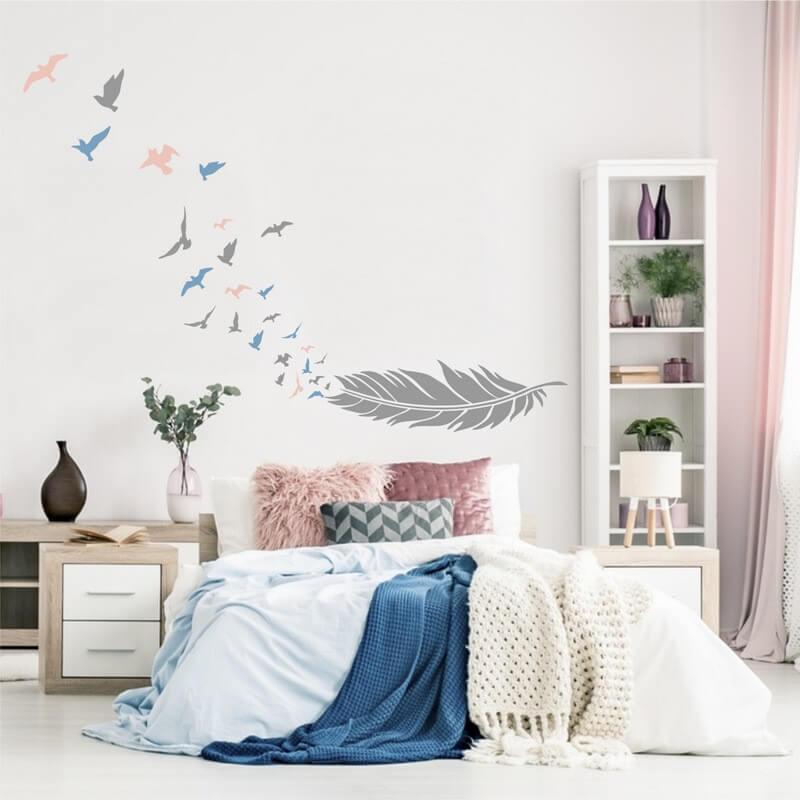 Šablóna na maľovanie - Pierko s vtákmi