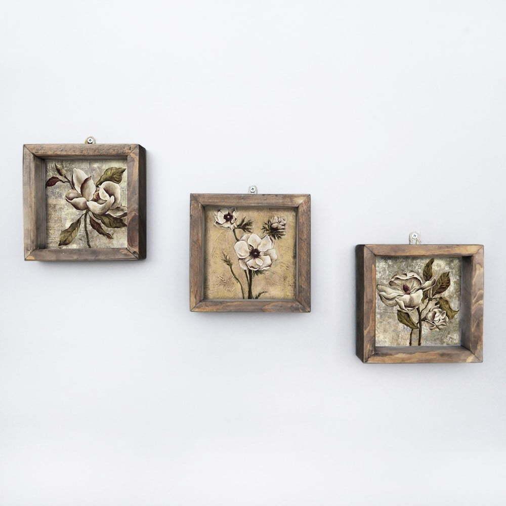 Súprava 3 nástenných obrazov Vintage, 15 × 15 cm