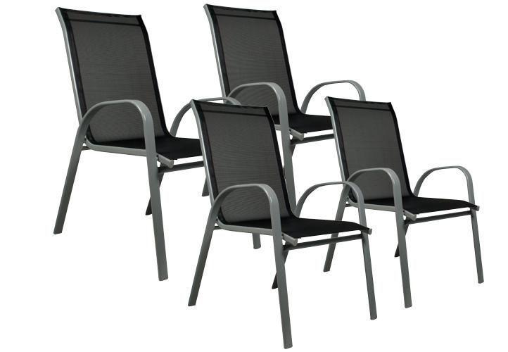 Sada 4 x záhradná stolička stohovateľná s vysokým operadlom