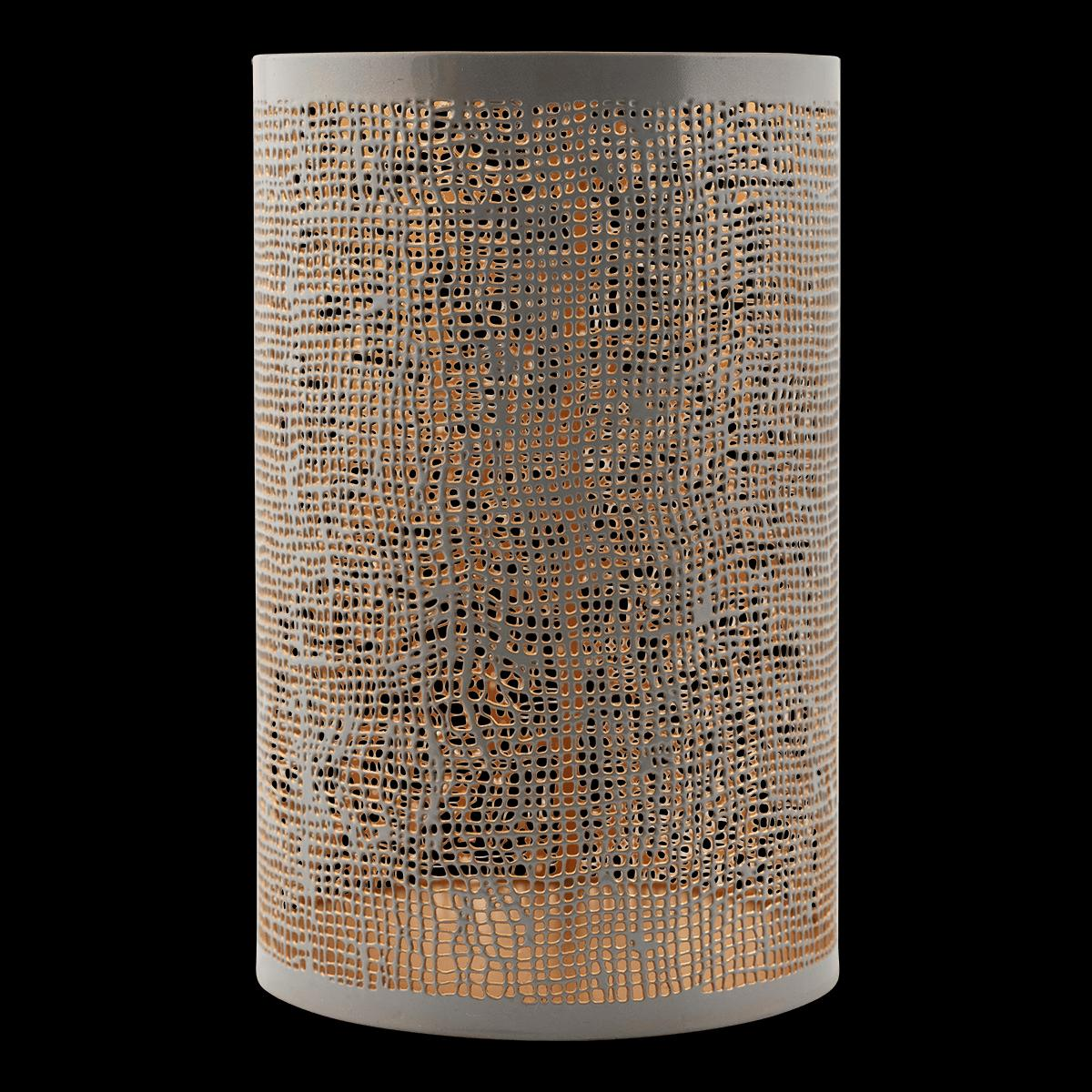 Sada 6 ks − Šedozlaté tienidlo na sviečku Hessian veľké