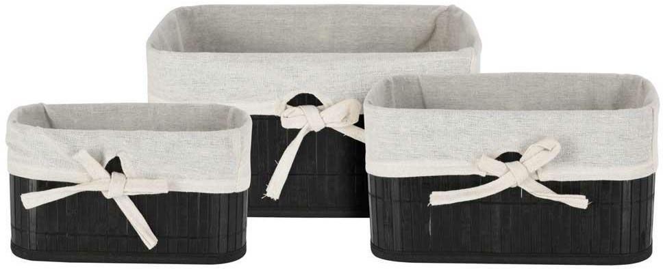 Sada bambusových košů - 3 kusy černá