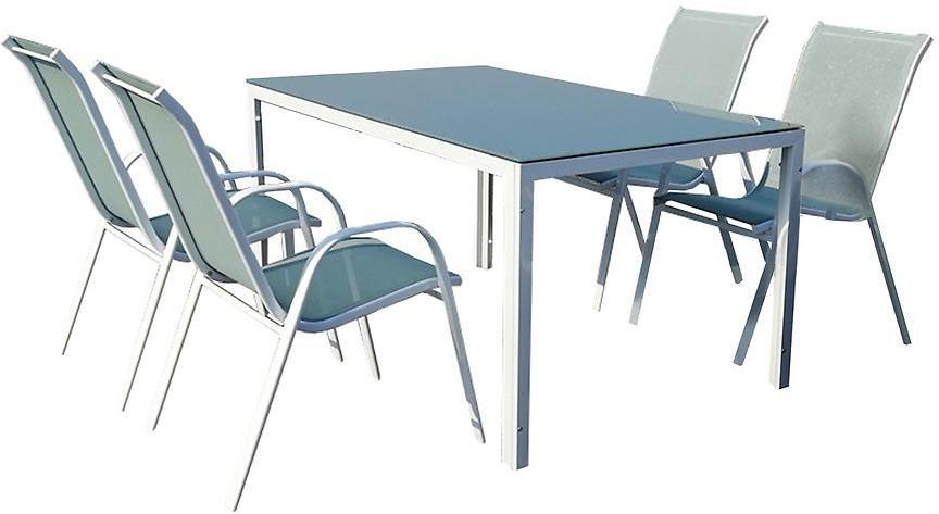 Sada Bergen sklenený stôl + 4 stoličky morský