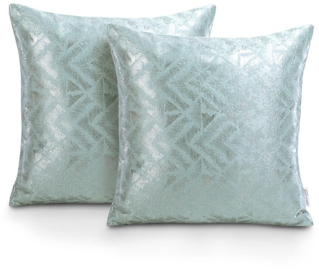 Sada dvou povlaků na polštář AmeliaHome Glamour Navia šedo-zelená