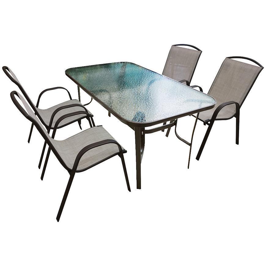 Sada sklenený stôl + 4 stoličky béžová