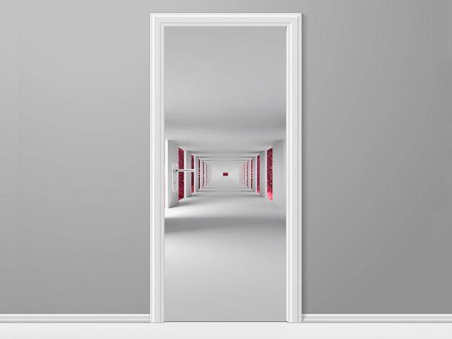Samolepiaca fólia na dvere Chodba a červený vesmír 95x205cm ND4780A_1GV