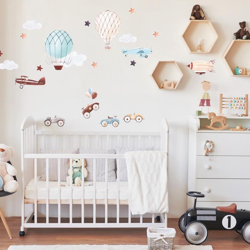 Samolepiace tapety na stenu - Retro autá a balóny